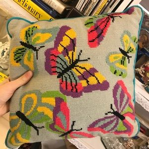 Vintage Bedding - Butterfly Bright Handmade Needlepoint Pillow